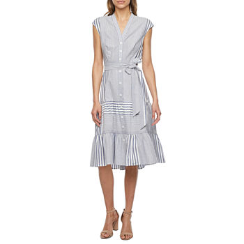 Danny & Nicole Sleeveless Striped Fit & Flare Dress with Coordinating Face Mask