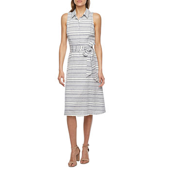 Studio 1 Sleeveless Striped Shirt Dress