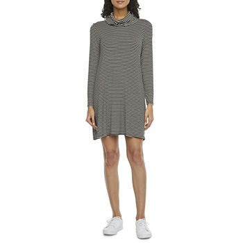 Tiana B Long Sleeve Striped Swing Dress with Attached Mask
