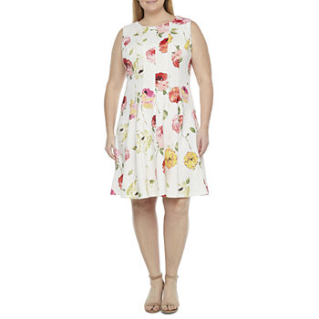 Danny & Nicole-Plus Sleeveless Floral Fit & Flare Dress with Coordinating Face Mask