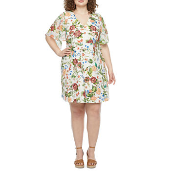 Tiana B-Plus Short Sleeve Floral Fit & Flare Dress