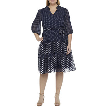Danny & Nicole-Plus 3/4 Sleeve Dots Fit & Flare Dress