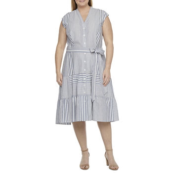 Danny & Nicole-Plus Sleeveless Stripe Midi Shirt Dress with Coordinating Face Mask