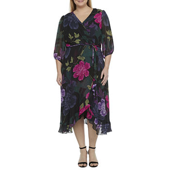 Danny & Nicole-Plus 3/4 Sleeve Floral High-Low Wrap Dress