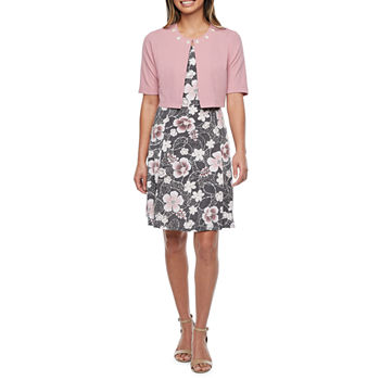 Perceptions-Petite Short Sleeve Floral Puff Print Jacket Dress