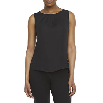 Worthington Womens Pleat Neck Shell - Tall