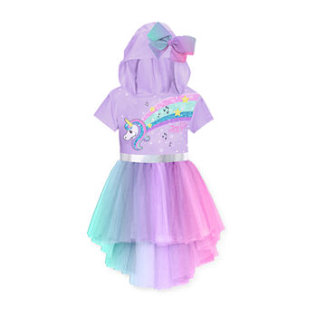 Jojo Siwa Little & Big Girls Embellished Short Sleeve Cap Sleeve A-Line Dress