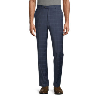 Stafford Mens Windowpane Stretch Slim Fit Suit Pants