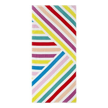 Outdoor Oasis Diagonal Stripe Beach Towel