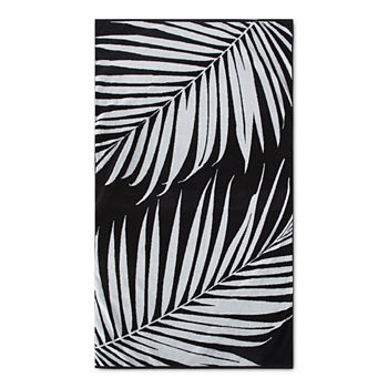 Loom + Forge Palm Leaf Organic Cotton Jacquard Beach Towel