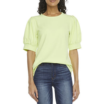 Worthington Womens Crew Neck Elbow Sleeve T-Shirt