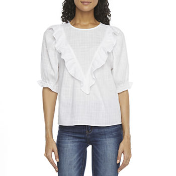 a.n.a Womens Crew Neck Elbow Sleeve Blouse