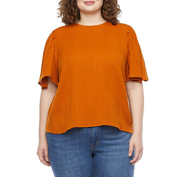 a.n.a-Plus Womens Crew Neck Elbow Sleeve Blouse