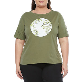 Liz Claiborne Womens Plus Round Neck Short Sleeve T-Shirt