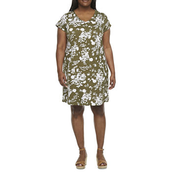 Liz Claiborne-Plus Short Sleeve Floral Shift Dress