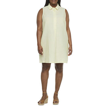 Liz Claiborne-Plus Sleeveless Shirt Dress