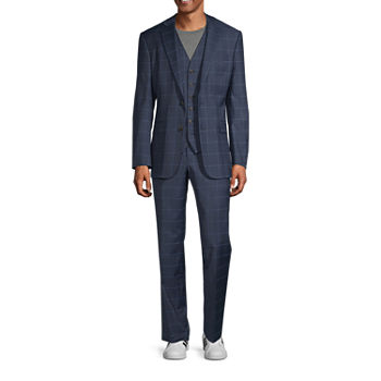 Stafford Super Blue Windowpane Classic Fit Suit Separates