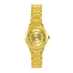 Hampden Womens Gold-Tone Personalized Bracelet Watch