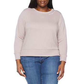 a.n.a. Plus Womens Crew Neck Long Sleeve Sweatshirt