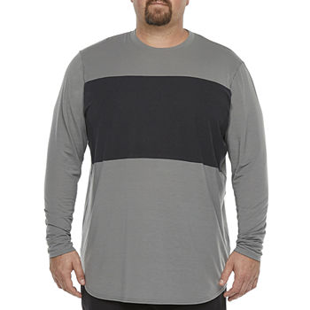 Msx By Michael Strahan-Big and Tall Mens Crew Neck Long Sleeve T-Shirt