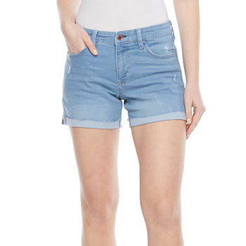 Arizona Womens Mid Rise Midi Short-Juniors