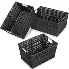 Whitmor Rattique 3-pc. Black Storage Basket Set