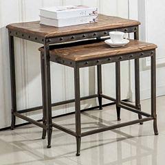 2-Pc. Metal And Distressed Wood Floor Mirror