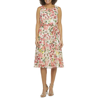 R & K Originals Sleeveless Floral Midi Fit & Flare Dress