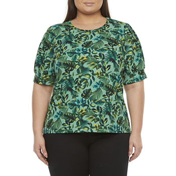 Worthington-Plus Womens Round Neck Elbow Sleeve Blouse