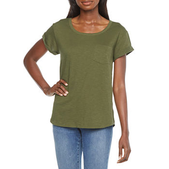 a.n.a Womens Round Neck Short Sleeve T-Shirt