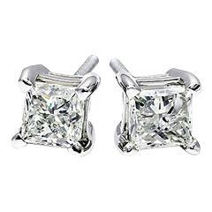 1/2 CT. T.W. Diamond Princess-Cut Stud Earrings