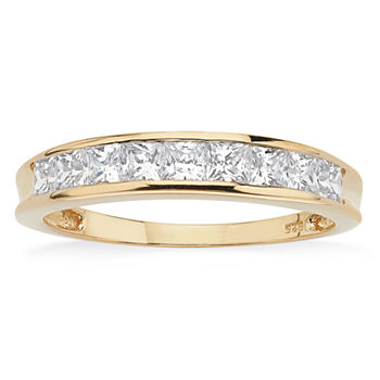 DiamonArt® 2MM 3/4 CT. T.W. White Cubic Zirconia 18K Gold Over Silver Band