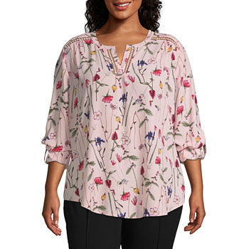 8b0ed38ce5a Plus Size Blouses Tops for Women - JCPenney