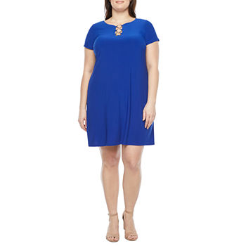 MSK-Plus Short Sleeve Shift Dress