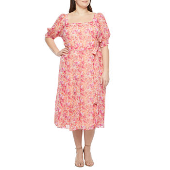 Danny & Nicole-Plus Short Sleeve Floral Midi Fit & Flare Dress