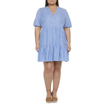 52seven Short Sleeve Babydoll Dress-Plus