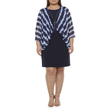 Tiana B-Plus 3/4 Sleeve Faux-Jacket Dress