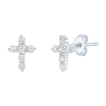'Limited Time Special! Lab Created White Sapphire Sterling Silver 9mm Cross Stud Earrings