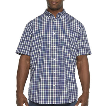 The Foundry Big & Tall Supply Co. Mens Short Sleeve Checked Button-Down Shirt