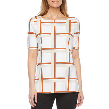 Liz Claiborne Womens Square Neck Short Sleeve Tunic Top