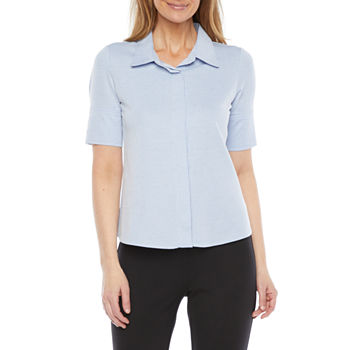 Liz Claiborne Womens Short Sleeve Button-Down Shirt