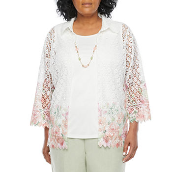 Alfred Dunner Springtime In Paris Womens 3/4 Sleeve Layered Top-Plus