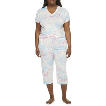 Jaclyn Womens-Plus 2-pc. Capri Pajama Set Short Sleeve V-Neck
