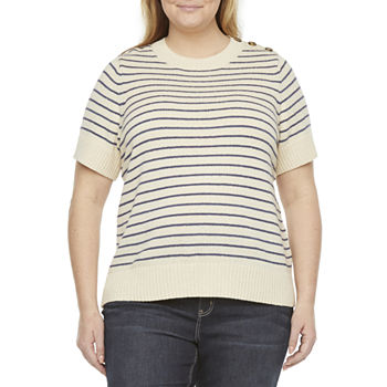 Liz Claiborne-Plus Womens Crew Neck Short Sleeve Striped Pullover Sweater
