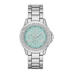 Geneva Womens Mint Dial Silver-Tone Watch