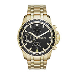 Relic® Mens Gold-Tone Ion-Plated Stainless Black Dial Bracelet Watch
