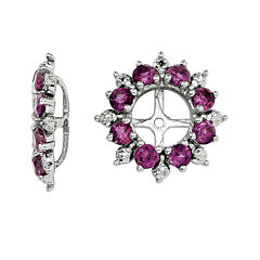 Genuine Rhodiolite Garnet and Diamond Accent Earring Jackets