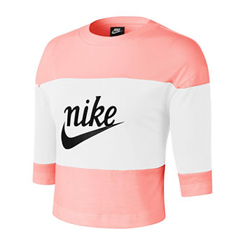 Nike Womens Crew Neck 3/4 Sleeve Crop Top