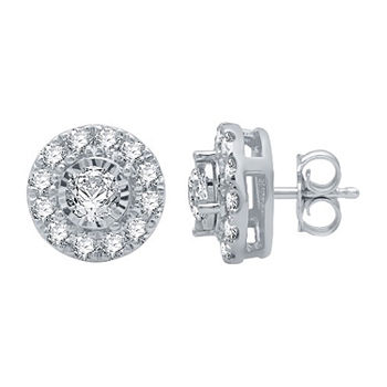 1 CT. T.W. Genuine White Diamond 10K White Gold 10.2mm Stud Earrings
