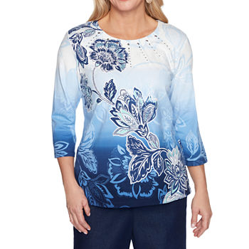 Alfred Dunner Classics Womens Plus Round Neck 3/4 Sleeve T-Shirt